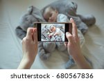 mother shootin her sleeping... | Shutterstock . vector #680567836