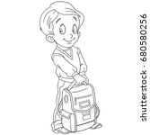 coloring page of schoolboy with ...