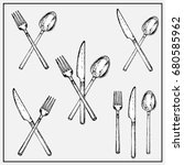 painted sets of cutlery...   Shutterstock .eps vector #680585962