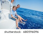 boy with his sister on board of ... | Shutterstock . vector #680596096
