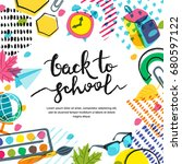 vector back to school banner ... | Shutterstock .eps vector #680597122