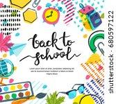 vector back to school banner ... | Shutterstock .eps vector #680597122