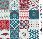 various vector patterns  floral ... | Shutterstock .eps vector #680597998
