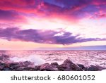 burning skies dusk rocks    Shutterstock . vector #680601052