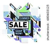 summer sale geometric style web ... | Shutterstock .eps vector #680603125