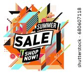 summer sale geometric style web ... | Shutterstock .eps vector #680607118
