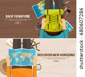 travel and tourism. flat style. ... | Shutterstock .eps vector #680607286