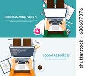 programming coding. flat... | Shutterstock .eps vector #680607376