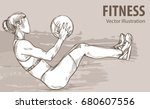 hand sketch of a girl is...   Shutterstock .eps vector #680607556