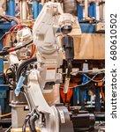 robots welding in the... | Shutterstock . vector #680610502
