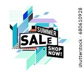 summer sale geometric style web ... | Shutterstock .eps vector #680610928