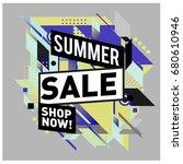 summer sale geometric style web ... | Shutterstock .eps vector #680610946