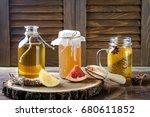 homemade fermented raw kombucha ... | Shutterstock . vector #680611852
