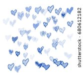 many embroidered blue hearts of ...   Shutterstock .eps vector #680612182