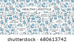 healthy lifestyle vector... | Shutterstock .eps vector #680613742
