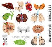 human sick organs cartoon... | Shutterstock .eps vector #680619586