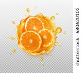 orange juice.  realistic splash ... | Shutterstock .eps vector #680620102