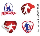 rugby sport with shield and...   Shutterstock .eps vector #680622262