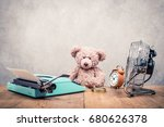 teddy bear toy sitting at the... | Shutterstock . vector #680626378