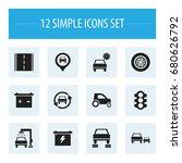 set of 12 editable car icons.... | Shutterstock .eps vector #680626792
