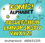 comic retro yellow alphabet.... | Shutterstock .eps vector #680631205