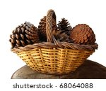 Pineapples Basket Isolated In...
