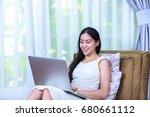 pretty asian businesswoman... | Shutterstock . vector #680661112