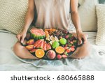 summer healthy raw vegan clean... | Shutterstock . vector #680665888