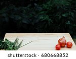 vegetable on wood table  empty... | Shutterstock . vector #680668852