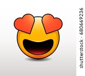 cute emoticon in love with...   Shutterstock .eps vector #680669236