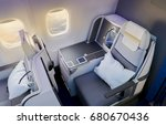 business class airplane... | Shutterstock . vector #680670436