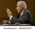 Small photo of US. Attorney General Jeff Sessions responds to questions from the Vice Chairman of the Senate Intelligence Committee during his testimony in front of the Committee. Washington DC, June 13, 2017.