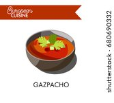 cold gazpacho soup from... | Shutterstock .eps vector #680690332