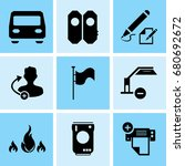 set of 9 mixed icons such as... | Shutterstock .eps vector #680692672
