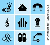 set of 9 mixed icons such as... | Shutterstock .eps vector #680693716