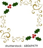 Christmas holly berry frame. Vector background - stock vector