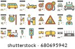 vector set of transportation... | Shutterstock .eps vector #680695942