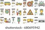 vector set of transportation... | Shutterstock .eps vector #680695942