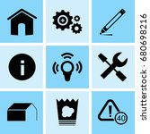 set of 9 mixed icons such as... | Shutterstock .eps vector #680698216