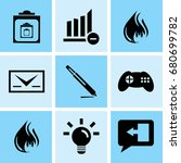 set of 9 mixed icons such as... | Shutterstock .eps vector #680699782