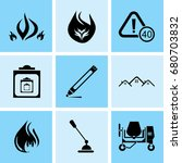 set of 9 mixed icons such as... | Shutterstock .eps vector #680703832