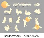 Stock vector set of happy rabbit illustration mid autumn festival collection funny bunny flat bunny c moon 680704642