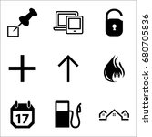 set of 9 miscellaneous icons... | Shutterstock .eps vector #680705836