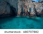 blue caves on zakynthos island  ... | Shutterstock . vector #680707882