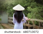 the back of a long haired woman ... | Shutterstock . vector #680713072