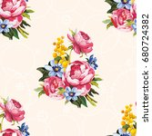 seamless floral pattern with... | Shutterstock .eps vector #680724382