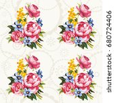 seamless floral pattern with... | Shutterstock .eps vector #680724406