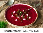 beetroot soup garnished with... | Shutterstock . vector #680749168