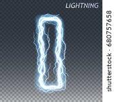 lightning and thunder bolt or... | Shutterstock .eps vector #680757658