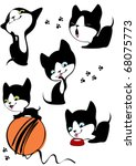 Stock vector the complete set of little cheerful kittens 68075773